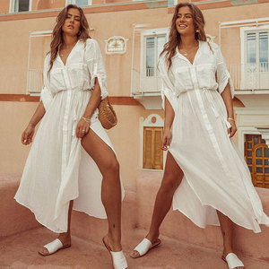 Image 1 - 2020 Summer Women Plus Size Beachwear Cover ups White Cotton Tunic Beach Wrap Bath Dress Swim Suit Bikini Cover Up Woman #Q717