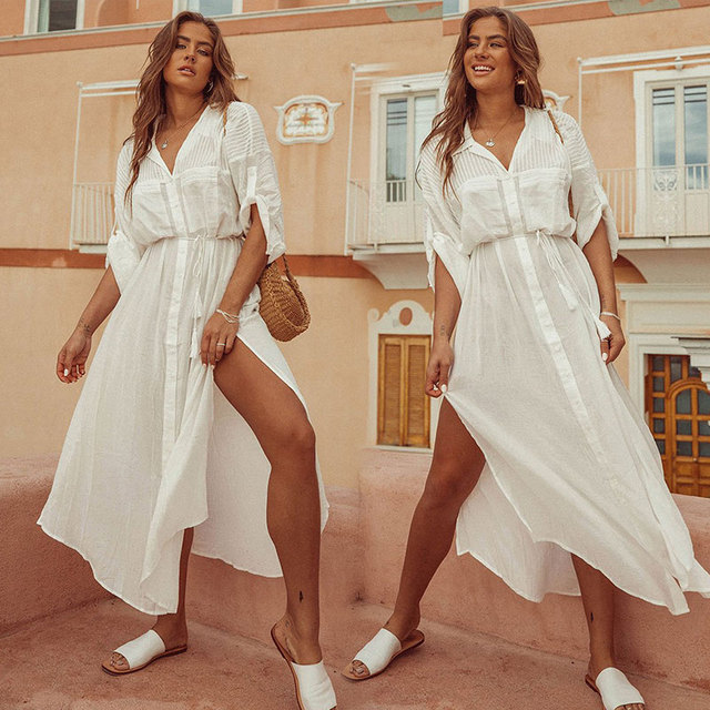 2020 Summer Women Plus Size Beachwear Cover ups White Cotton Tunic Beach Wrap Bath Dress Swim Suit Bikini Cover Up Woman #Q717