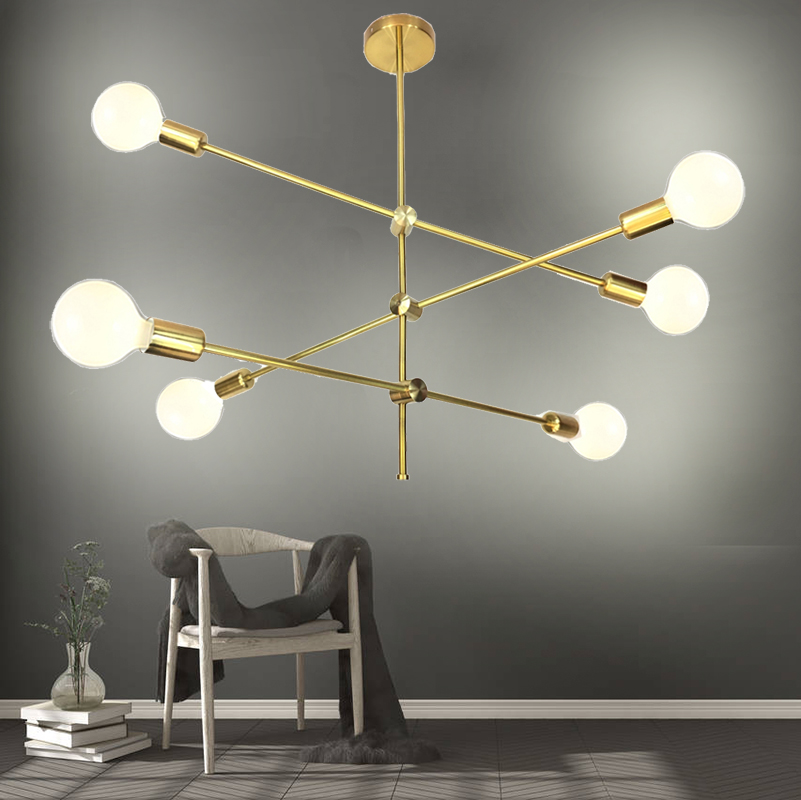 Rotatable Loft Nordic Chandelier for Dining Kitchen Stair Chandeliers In Gold Suspension Luminaire Modern Chandelier Ceiling