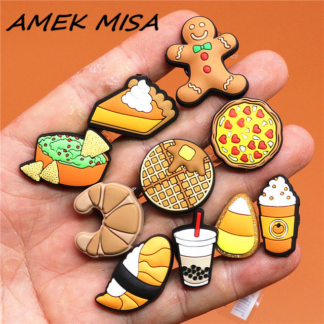 1pcs Foods Shoe Charms Cute Sushi Cookies Ice Cream Cake PVC Shoes Accessories Decoraciones for Croc Buckle jibitz Kids Gifts