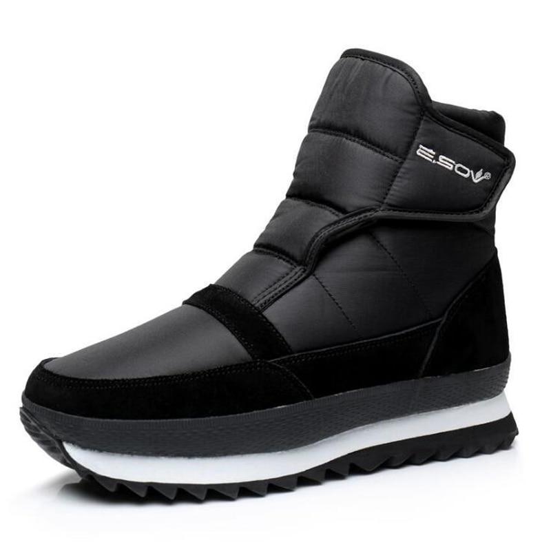 zimní boty pro muže se suchým zipem - Men boots winter shoes men ankle boots Waterproof Non-slip warm plush flat men snow boots big size 39 - 45