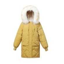 New Winter Jacket Women 2019 Fashion Warm Women Down Coat Female Fur Collar Hooded Zipper Outwear Long Winter Down Jacket Women цена 2017