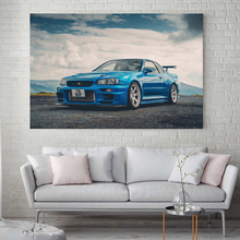 Supercar Posters Nissans Skyline GTR R34 Classic Wall Art Picture Prints Modern Canvas Paintings for Living Room Decor