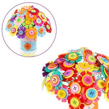 Mother Day Gifts Fake Flower Button Cloth Bouquets Kids Girls Kindergarten Handmade Puzzles DIY Material Bouquet Y51E