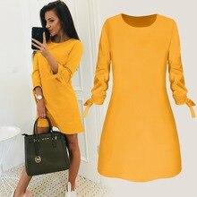 2019 Spring New Fashion Solid Color Dress Casual O-Neck Loose Dresses 3/4 Sleeve Bow Elegant Beach Female Vestidos Plus Size цены