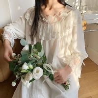 Elegant Women's White Cotton Long Nightgowns Plus Size Viscose Sleepwear Female Vintage Princess Lace Nightshirts Summer Autumn