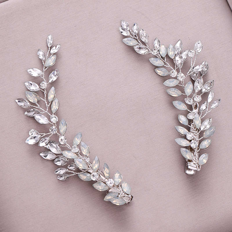 2Pcs Fashion Silver Headpiece Crystal Rhinestone Hairgrips Clips Bridal Handmade Headband Women Jewelry Wedding Hair Accessories