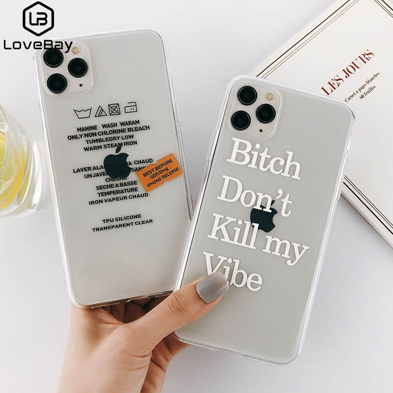 Lovebay Silicone Transparent Label Letters Phone Case For IPhone 11 Pro Max X XR Xs Max 6 6s 7 8 Plus Soft TPU Clear Back Cover