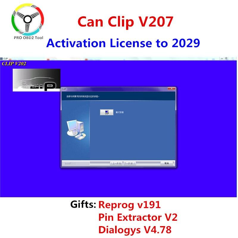 Новейший Can Clip v207 Reprog v191 Поддержка нескольких языков Can Clip V202 Can-Clip 190 программное обеспечение для Renault Can Clip V202