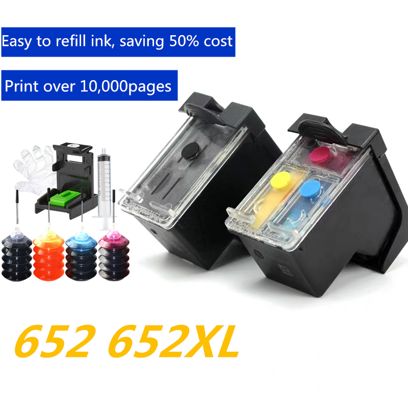 GraceMate 652XL 652 Refillable <font><b>Ink</b></font> Cartridge Replacement for <font><b>HP</b></font> 652 XL for Deskjet <font><b>1115</b></font> 1118 2135 2136 2138 3635 3636 3835 4535 image
