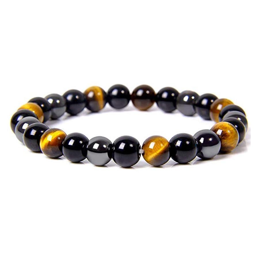 Natural Tiger Eye Obsidian Hematite Beads Bracelets Men Magnetic Health Protection Balance Bracelets Women Healing Soul Jewelry
