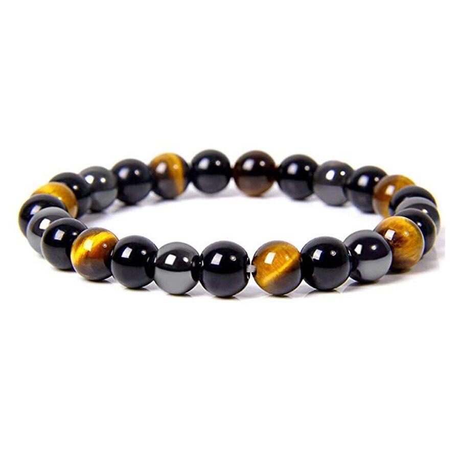Natural olho de tigre obsidiana hematita grânulos braceletes homens proteção magnética saúde equilíbrio braceletes feminino cura alma jóias