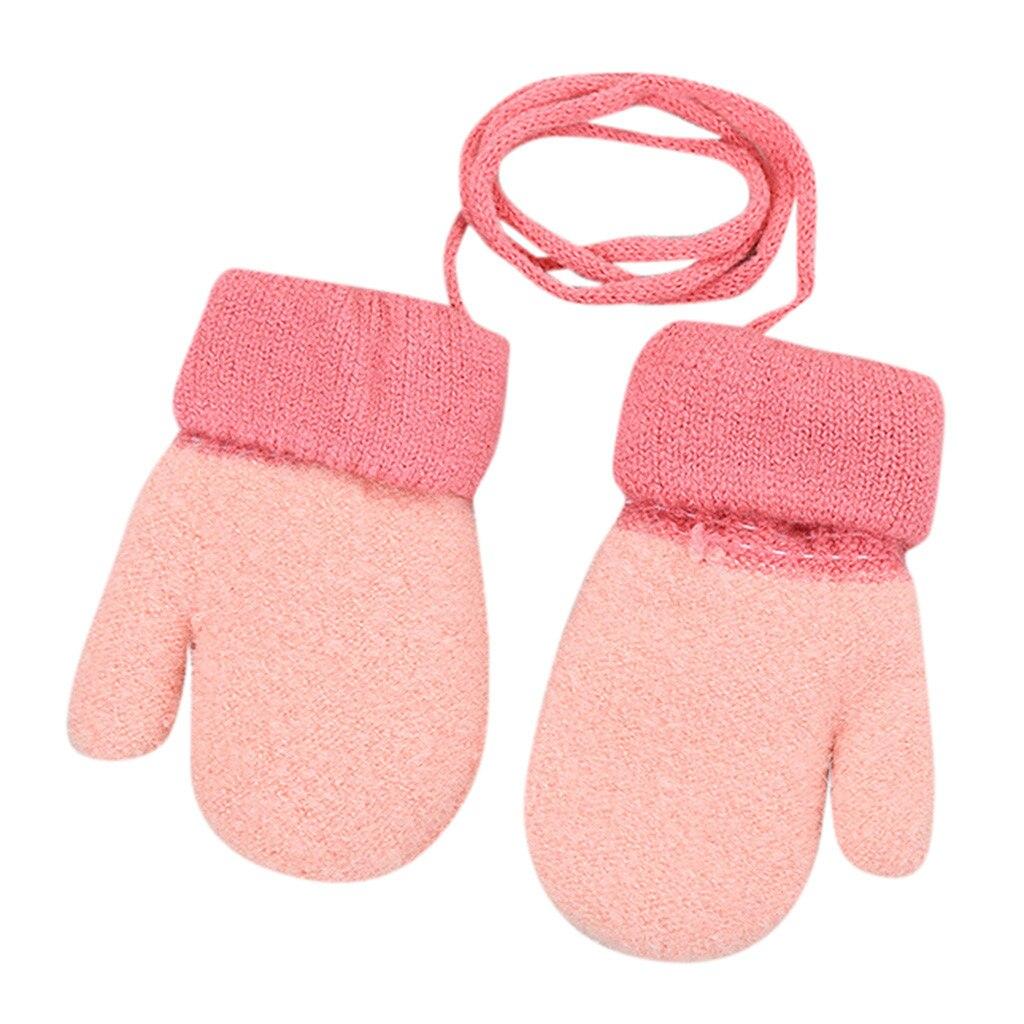 Дети Мальчики Девочки Зима милый твердый, подвесной шею теплые вязаные перчатки дети милые перчатки теплые полный палец перчатки зима - Цвет: Розовый