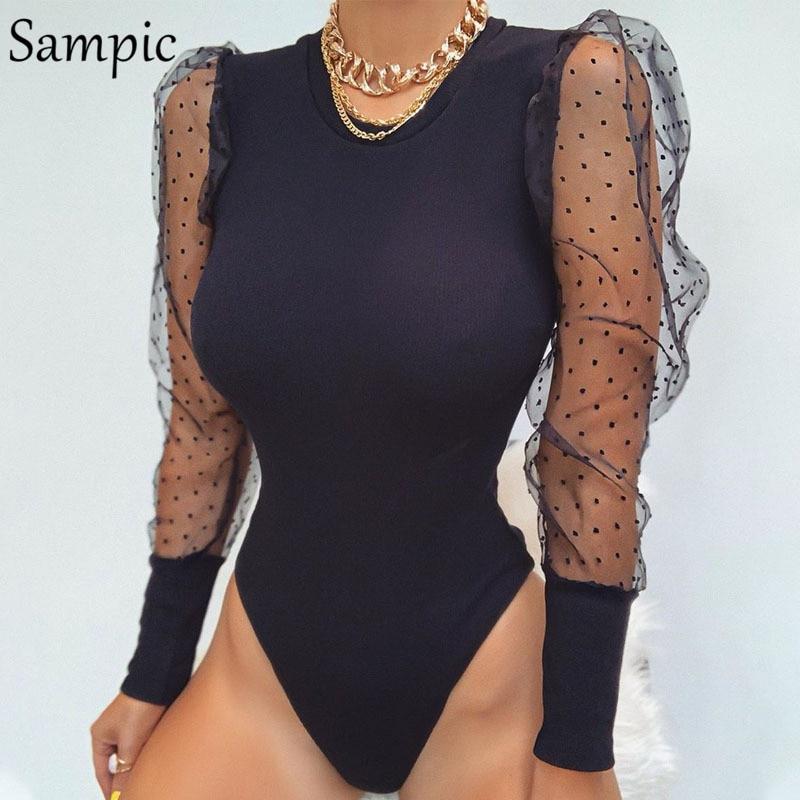 Sampic Polka Dot uzun kollu Bodysuit vücut kadın şeffaf ağ seksi Bodysuit siyah Romper bayan sonbahar Bodysuits