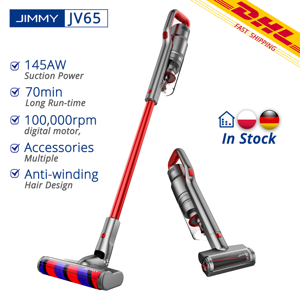 [In Stock] JIMMY JV65 Handheld Wireless Vacuum Cleaner Digital Motor 145AW Suction Power Anti-winding Hair Design Dust Collector