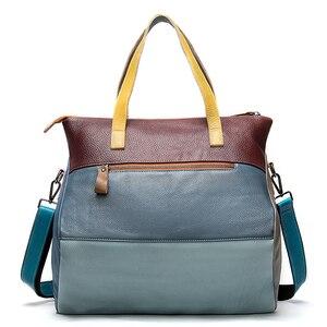 Image 2 - WESTAL ハンドバッグ女性の本革大バッグ女性のメッセンジャー/ショルダーバッグパッチワークハンドバッグ革トートバッグ 9135
