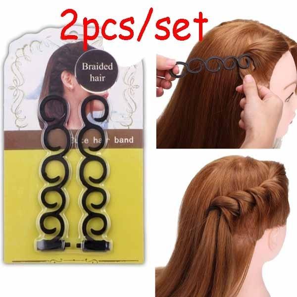 2 шт./компл. инструмент для плетения Волос завивка волос для укладки волос, стильный зажим для плетения ролик Сделай Сам резинка для волос ак...