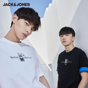 JackJones New Arrival Men's T-shirt Cartoon Pattern Embroidered 100% Cotton Short-sleeved T-shirt Menswear| 220201165