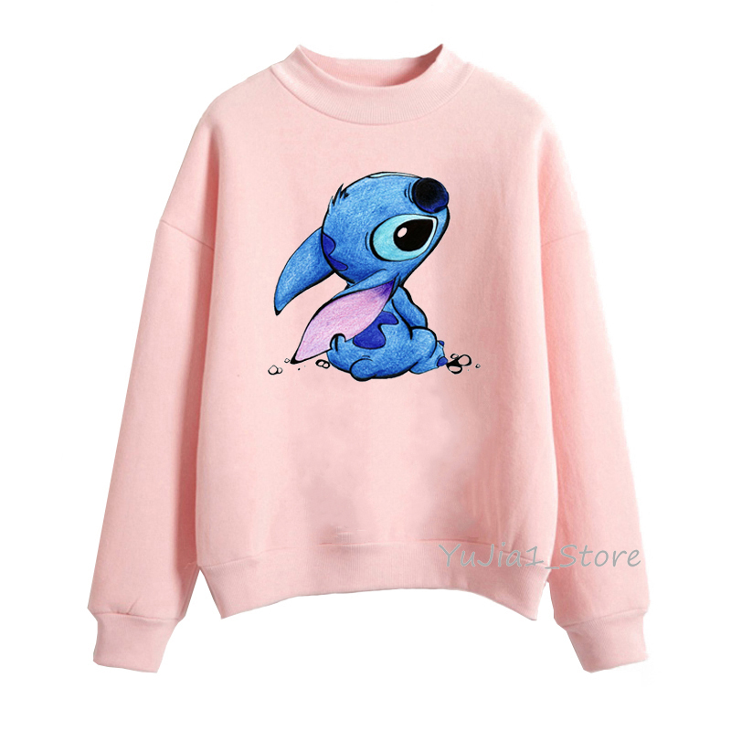 Fashion Women's Sweatshirt Cute Lilo Stitch Print Harajuku Kawaii Hoodie Cartoon Female Winter Clothes Pullover Streetwear