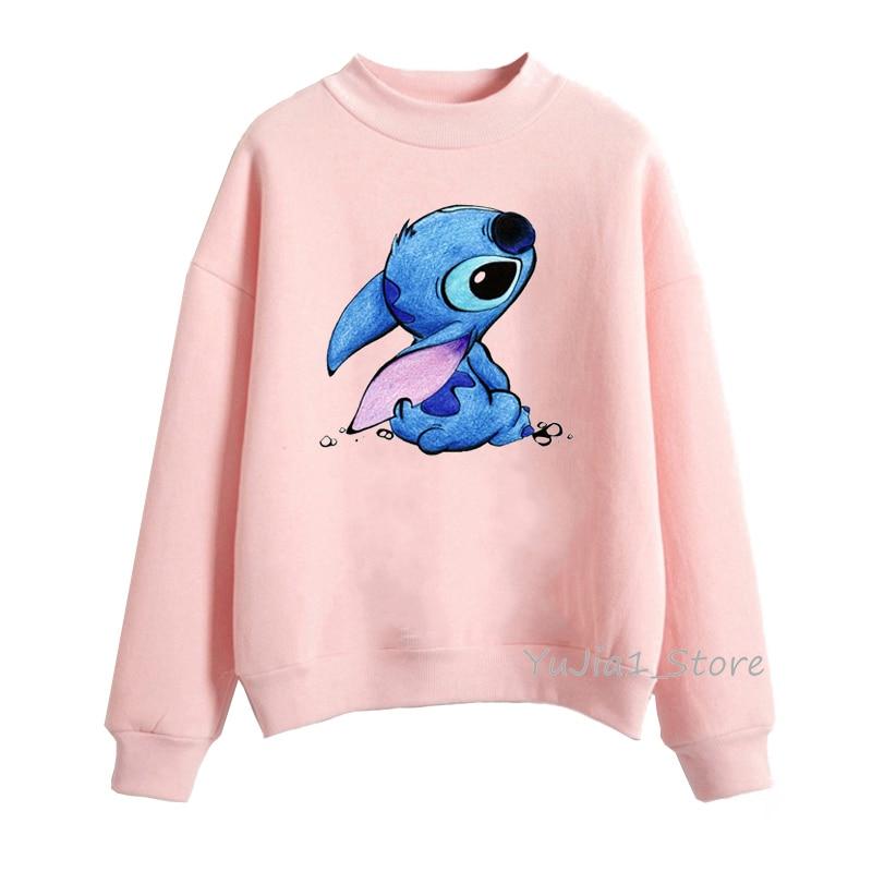 Fashion Women's Sweatshirt Cute Lilo Stitch Print Harajuku Kawaii Hoodie Cartoon Female Winter Clothes Pullover Streetwear