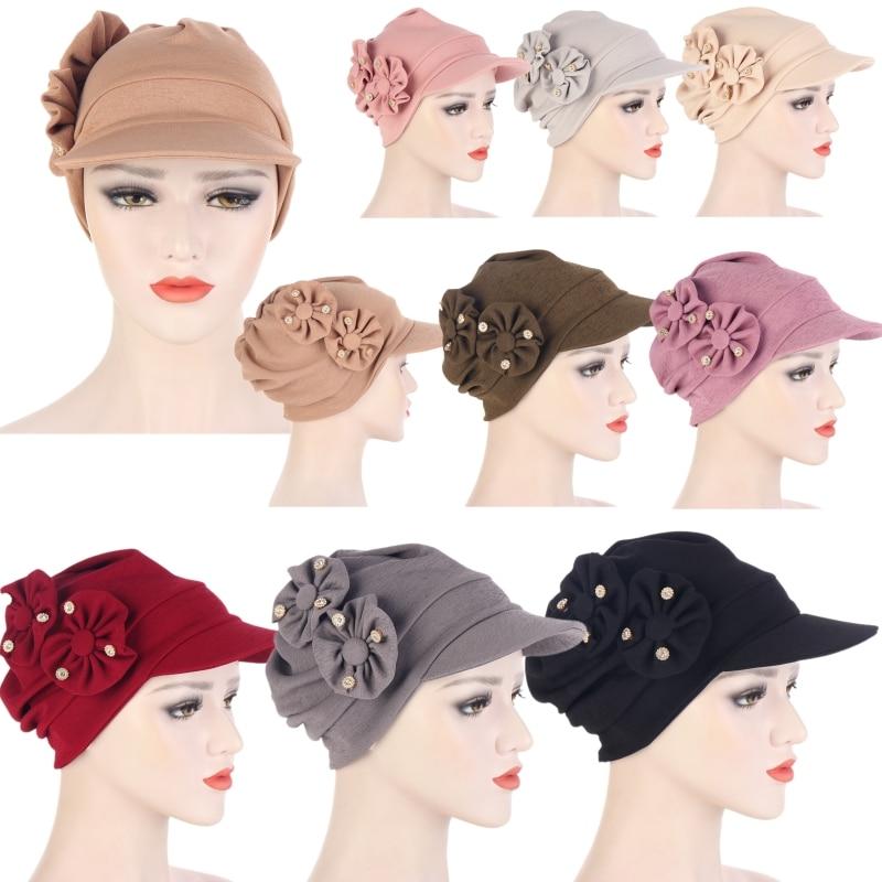 Casual Woman Flowers Bandana Hat Sun Hats Hair Loss Cap Chemo Hat Solid Color Beach Wide Brim Sunhat Holiday Arab Female Bonnet