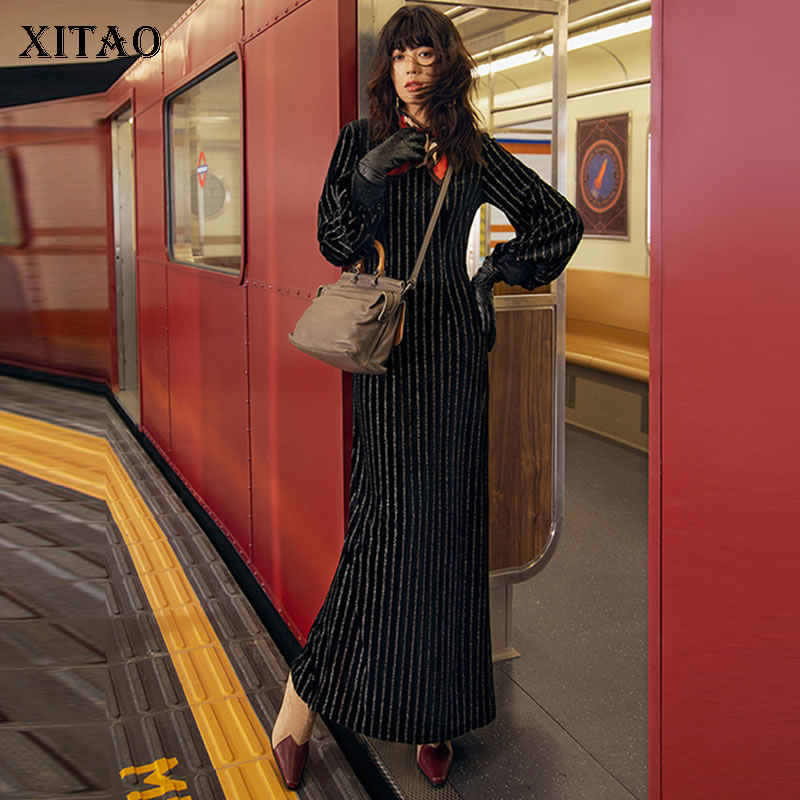XITAO элегантное лоскутное Полосатое тонкое платье сексуальная женская одежда с v-образным вырезом 2019 осеннее Повседневное платье с рукавами-фонариками Новая мода XJ2397