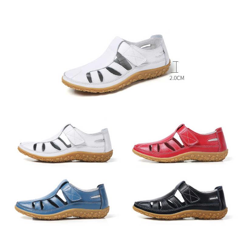 EOFK Mới Thời Trang Mùa Hè Nữ Võ Sĩ Giác Đấu Giày Sandal Nữ Rỗng Cổ Mềm Mại Thoải Mái Dưới Da Thật Chính Hãng Da Phẳng Dép Đi Biển