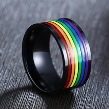 Stainless Steel Enamel Rainbow LGBT Pride Ring For Lesbian Gay Wedding Engagement Bands 10mm Men Gifts