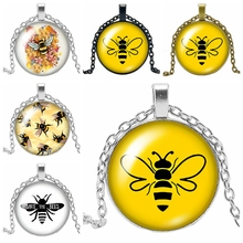 2019 New Best Selling Cartoon Anime Cute Bee Pattern Series Glass Convex Round Pendant Necklace Fashion Jewelry Gift 2019 new best selling starry unicorn series glass cabochon jewelry pendant necklace fashion jewelry gift