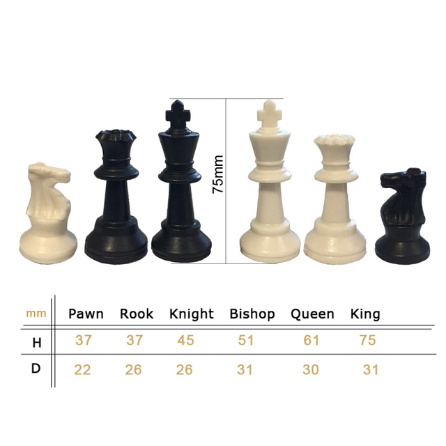 Pièces d'échecs en plastique 32 pièces jeu d'échecs roi hauteur 49/64/75/95mm jeu d'échecs Standard échiquier médiéval pour les jeux de voyage IA13 4