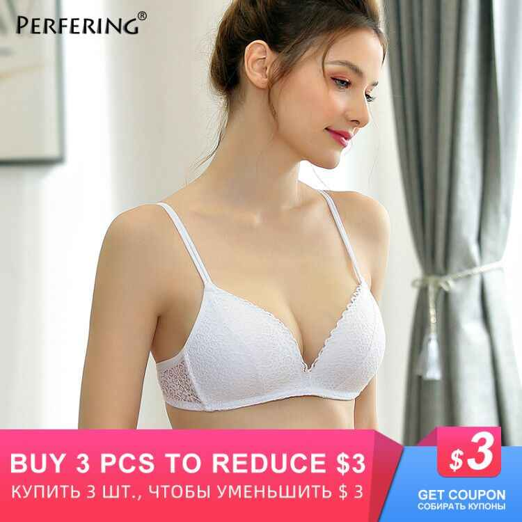 Perfering Seamless Push Up Sexy Lace Floral Bra Wire Free Adjustable Upper Underwear Women 3/4 Cup A B C 70 75 80 85 90 95
