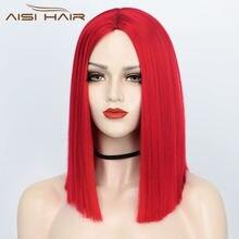 Волосы aisi 14 дюймов синтетический парик midele часть красный