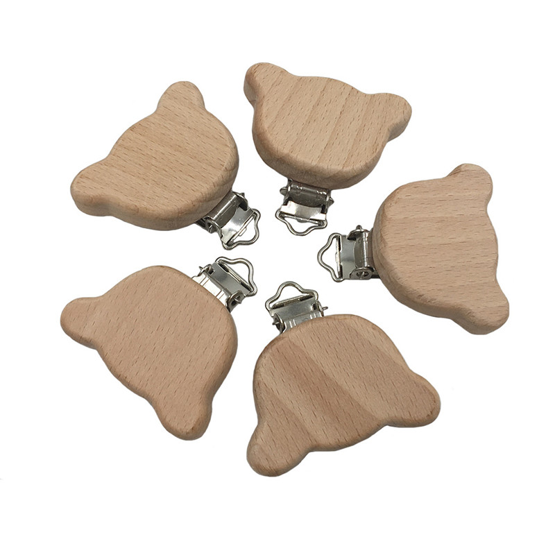 1Pcs Natural Beech Animal Bear Shape Pacifier Clip Wooden Bead Baby Teether & Wooden Teething Accessories Clip Nipple Clasp Toys
