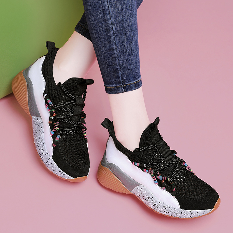 Women Platform Chunky Sneakers 5cm high lace-up Casual Vulcanize Shoes luxury Designer female fashion Sneakers 2019 G13-50
