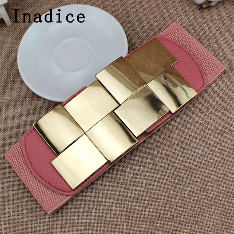 Inadice Metal Buckle Fashion Female Wide Belt Geometric Square Mirror Elastic Wide Belt Beauty Dress Belt