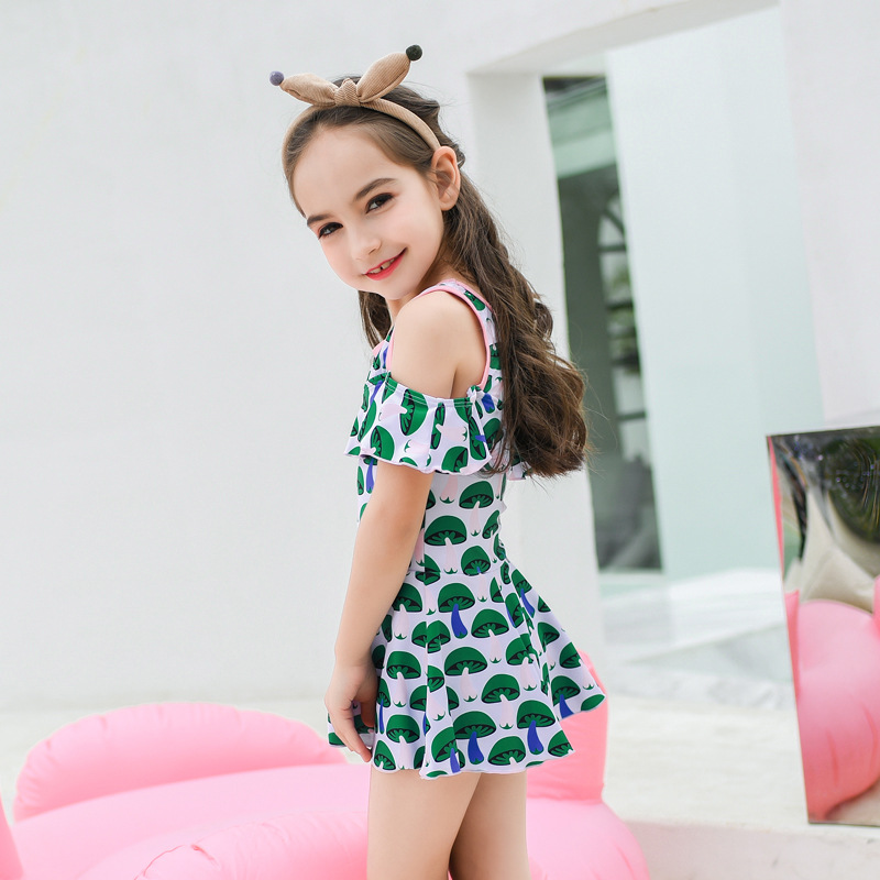 2019 New Style Hot Sales KID'S Swimwear Dress-Flounced Cartoon Floral-Print Hipster Sweet GIRL'S Swimsuit