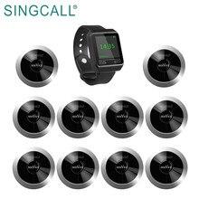 Водонепроницаемая беспроводная система вызова SINGCALL, 1 Мобильный приемник APE6800 и 10 пейджеров APE310 серебристый для ресторана