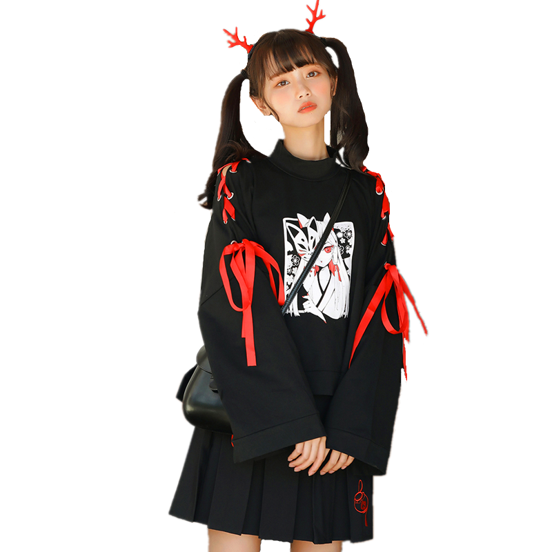 Japanese Cartoon Fox Girl Print Hoodie Harajuku Women Gothic Ribbon Lace Up Flare Sleeve Kawaii Plus Velvet Pullover Sweatshirt