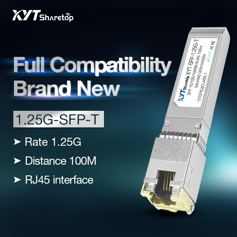 Sharetop 1.25G GE Ethernet Port Optical Transceiver Module 10/100/1000M Adaptive RJ45 Optic Converte To Ethernet GLC-T Module
