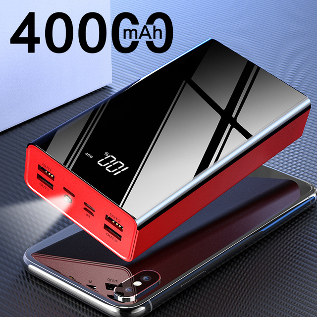 Newest 40000mAh 4 USB Power Bank Portable Fast Charging PowerBank For Xiaomi Mi Mirror Screen PoverBank External Battery Charger 1