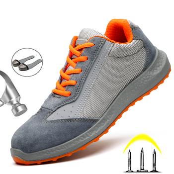 2020 nowe gorące obuwie ochronne mężczyźni stalowa nasadka na palec buty robocze bhp trampki lekkie buty do pracy mężczyźni obuwie ochronne niezniszczalny mężczyzna tanie i dobre opinie Quanzixuan Pracy i bezpieczeństwa CN (pochodzenie) Mesh (air mesh) ANKLE Stałe Cotton Fabric Okrągły nosek RUBBER Lato