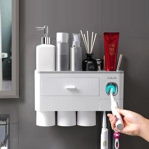 Image 2 - Dispensar automático de pasta de dentes, espremedor de pasta de dente, rack para montagem na parede, suporte para escova de dentes com copo, acessórios para banheiro