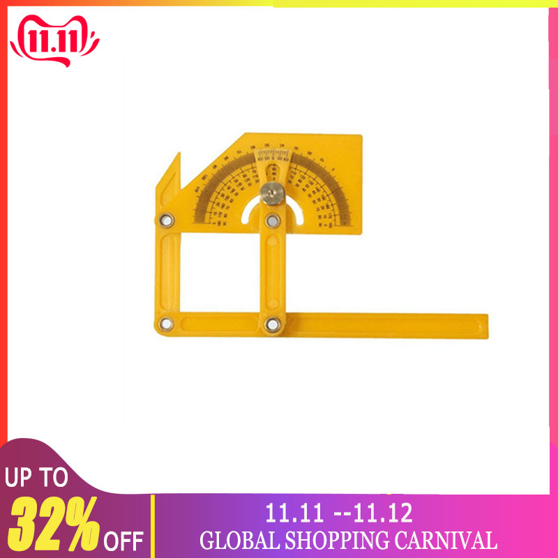 180 Degree Protractor Angle Finder Rotary Measuring Ruler Foldable For Craftsman Yellow