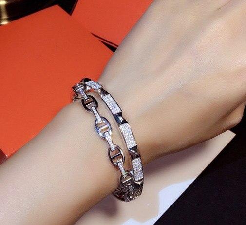 Hot célèbre marque bijoux H lock bracelet cochon nez bracelet croix bracelet plein de zircone or rose bijoux en argent