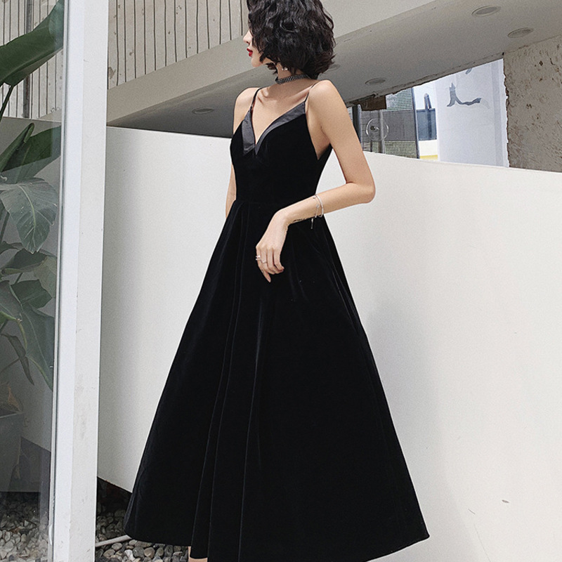 2019 Time-limited Evening Dress Black 2020 New Banquet Temperament Noble Host Simple And Generous
