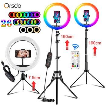 Orsda-Anillo de luz RGB de 10 pulgadas con trípode, anillo de luz Anillo de luz LED para selfis con soporte, 26 colores, para Youtube, Tik Tok