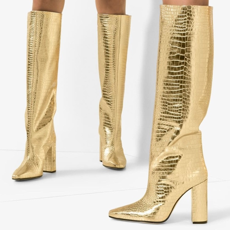 Femmes bottes or peau de Crocodile texture en relief peau de vache chaussures mode zip dame talons 2019 nouvelle marque de créateur femmes chaussures