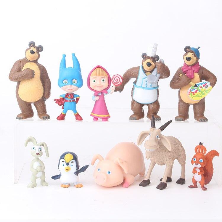 Anime Figure Toys MashaBear Cartoon Toys Birthday Gifts Bear Figures Masha Toys PVC Models 10pcs / Set