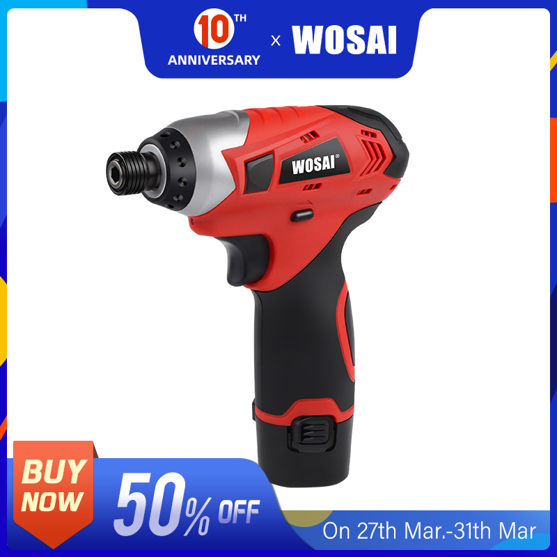 WOSAI 16V Cordless Electric Lithium-Ion Screwdriver Cordless Drill Household Multifunction Hit Electric Drill Tools Screwdriver
