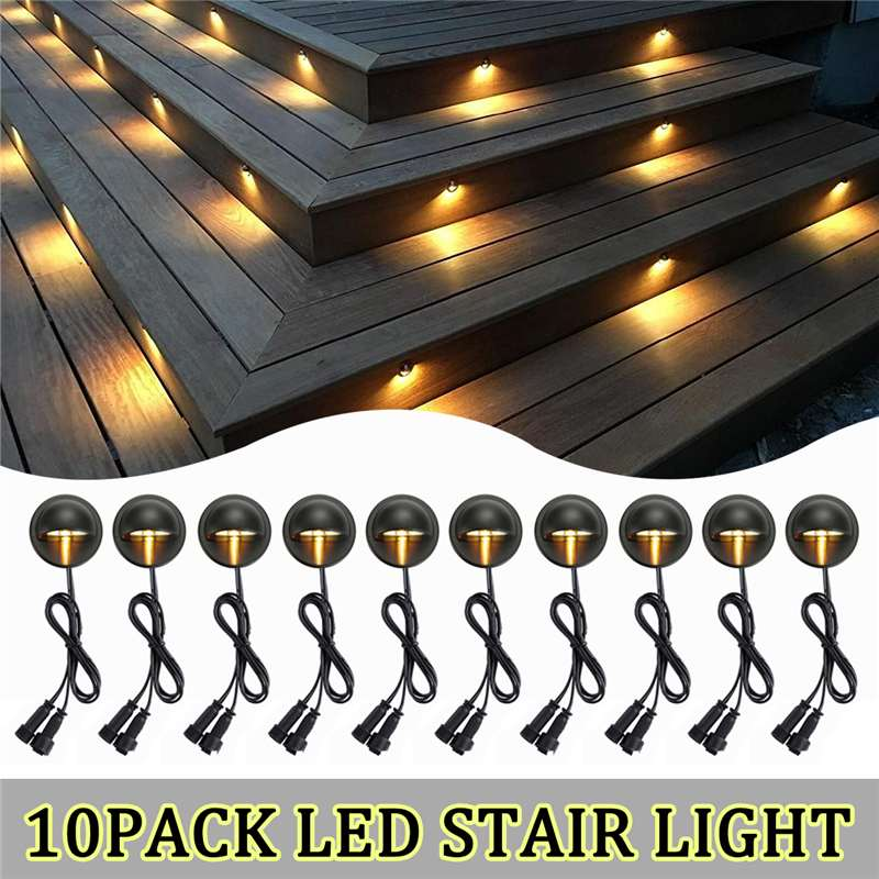 10PCS Pack LED Deck Lights Half-moon SMD5050 Garden Pathway Step Stair Lamp Decor Underground Waterproof Outdoor Spotlight
